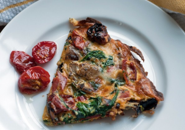 Spinach Frittata with Goat Cheese and Roasted Tomatoes