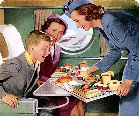 Stewardess serving airplane food
