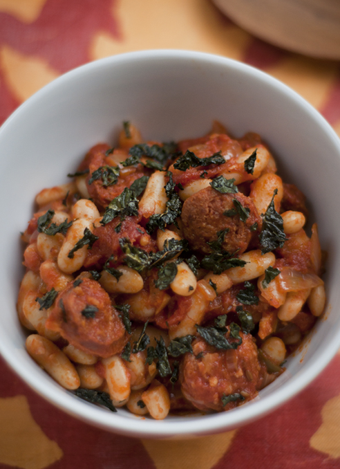 Chorizo with White Beans and Crisp Cavolo Nero