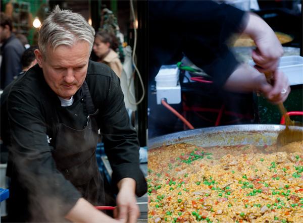 Man Stirring Paella at Borough Market