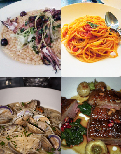 Calamari, Tomatoe Sauce, Vongole, Duck_Delfina
