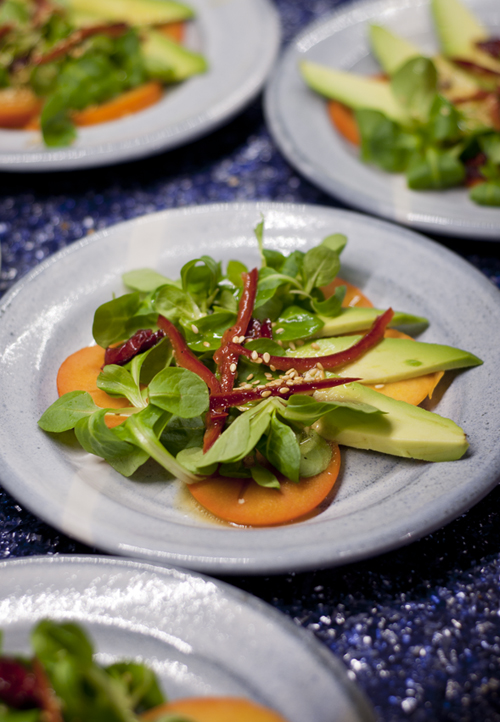 Fuyu Persimmon Salad with Avocados