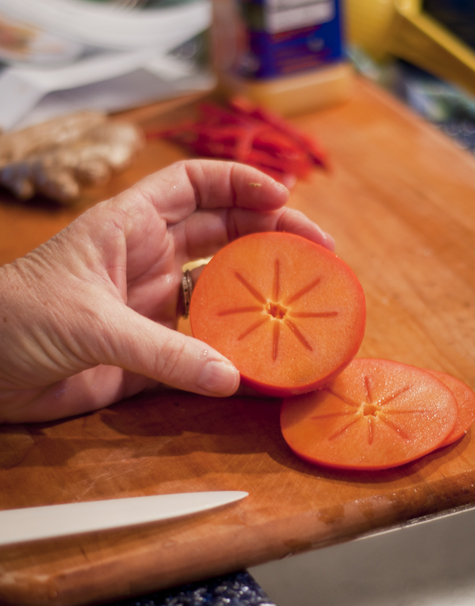 Slicing Persimmons for Salad