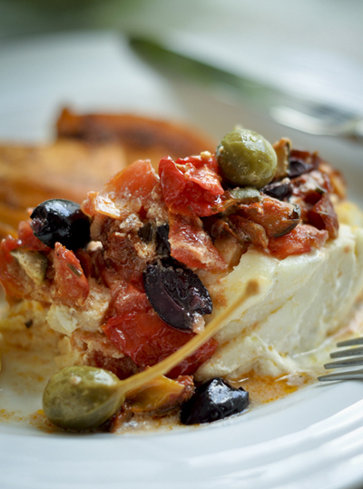 Greek-style Baked Fish with Feta, olives, and Capers