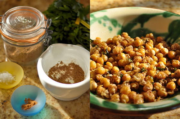 Chickpeas and ingredients